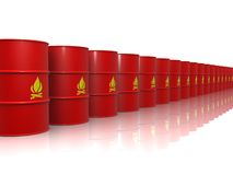 Red barrels containing flammable material Royalty Free Stock Photo