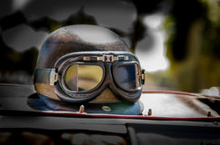 Red Barrons Helmet. Vintage helmet and goggles Royalty Free Stock Images