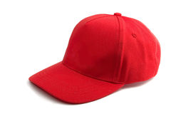 Red Baseball Cap. Isolated on white Stock Images