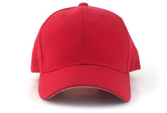 Red Baseball Cap. Isolated red baseball cap on a white background Royalty Free Stock Images