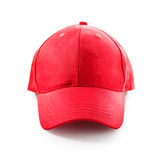 Red baseball cap. Isolated on white background. Sport hat. Single object with clipping path Royalty Free Stock Photo