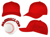 Red baseball cap set. Set of red baseball caps with baseball Stock Image