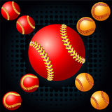 Red baseball and haftone Royalty Free Stock Images