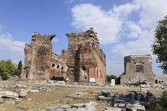 Red Basilica in the Ancient Greek City of Pergamon. Red Basilica or Serapis Temple in the Ancient Greek City of Pergamon in Bergama, Turkey Royalty Free Stock Images