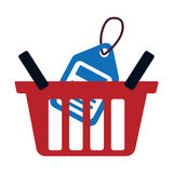 Red basket buy online blue price tag Royalty Free Stock Photo