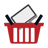 Red basket buy online computer screen wireless. Vector illustration eps 10 Stock Photos