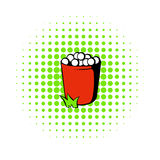 Red basket with golf balls icon, comics style Royalty Free Stock Image