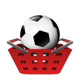 Red basket shopping with football ball vector Royalty Free Stock Photo