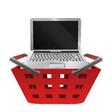 Red basket shopping with notebook buy vector Royalty Free Stock Photos
