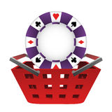 Red basket shopping with poker chip vector Stock Photos