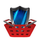 Red basket shopping with security shield vector Royalty Free Stock Image