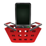 Red basket shopping with smart phone vector Stock Photo
