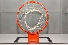 Red basketball basket. Red basket with the basketball net on a white board Royalty Free Stock Image