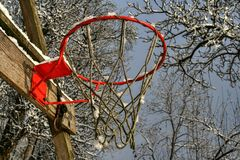 Red basketball cage slightly covered with snow, mounted on wooden plank. Image was shot during winter season, there are visible snow covered tree branches and stock images