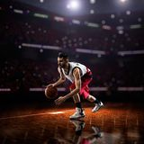Red Basketball player in action royalty free stock images