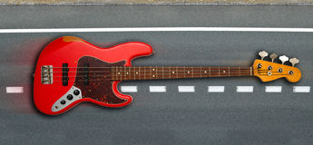 Red bass guitar Stock Images
