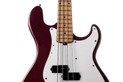 Red bass guitar close up Stock Images