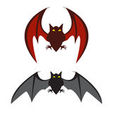 Red bat and black bat Stock Image