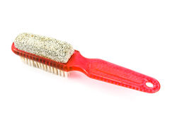 Red bath brush with bristle and pumice Stock Photo