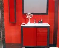 Red bathroom Stock Image