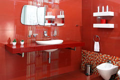 Red bathroom royalty free stock image