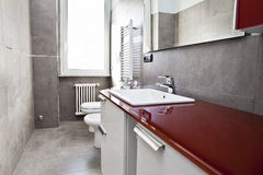 Red bathroom Stock Photos