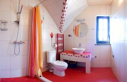 Red bathroom royalty free stock photos