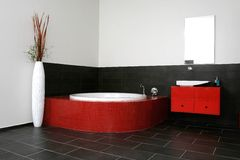 Red bathroom. Japanese style room Royalty Free Stock Photography