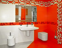 Red bathroom Royalty Free Stock Images