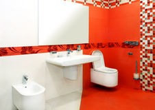 Red bathroom Stock Images