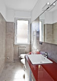 Red bathroom hdr Royalty Free Stock Image
