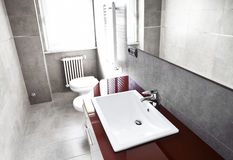 Red bathroom high contrast. Red bathroom with toilette, bidet, heater, lavabo and mirror on high contrast royalty free stock photos