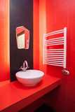 Red bathroom interior Stock Image