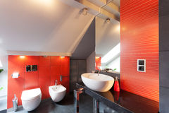 Red bathroom interior Royalty Free Stock Photography