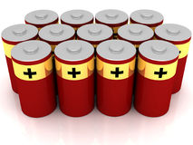 Red Batteries Royalty Free Stock Photo