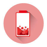 Red Battery Low Charge Icon Stock Photo
