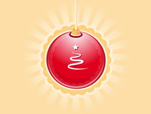 Red bauble. Chinesee red bauble christmas card Royalty Free Stock Photo