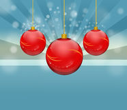 Red bauble. Three red hanging christmas bauble Royalty Free Stock Photo