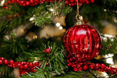Red bauble. Christmas tree decoration with a red bauble and chain stock photography