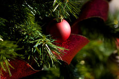 Red Bauble against Green Fir Tree. Red Bauble Christmas Decorations on a Christmas Tree with shiny red ribbon below. Horizontal shot Stock Photo