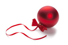 Red bauble on Christmas tree Royalty Free Stock Photo