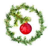Red bauble in christmas wreath with fir tree branches. Watercolor. New year wreath - fir tree and decorative red bauble. Watercolor Stock Photography