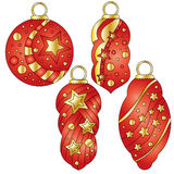 Red bauble collection with glossy golden stars. And dots Stock Images