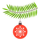 Red bauble on fir branch Royalty Free Stock Photo