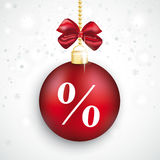 Red Bauble Percent Christmas Sale. Christmas bauble with percent on the white background Royalty Free Stock Photo