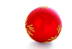 Red bauble with space for text Stock Photo