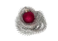 Red bauble with tinsel Royalty Free Stock Photography