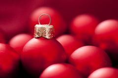 Red baubles. Christmas ornaments for holidays backgrounds Royalty Free Stock Photography