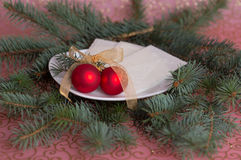 Red baubles Stock Images