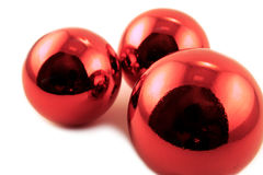 Red baubles. Ready for hanging on the Christmas tree Royalty Free Stock Photos